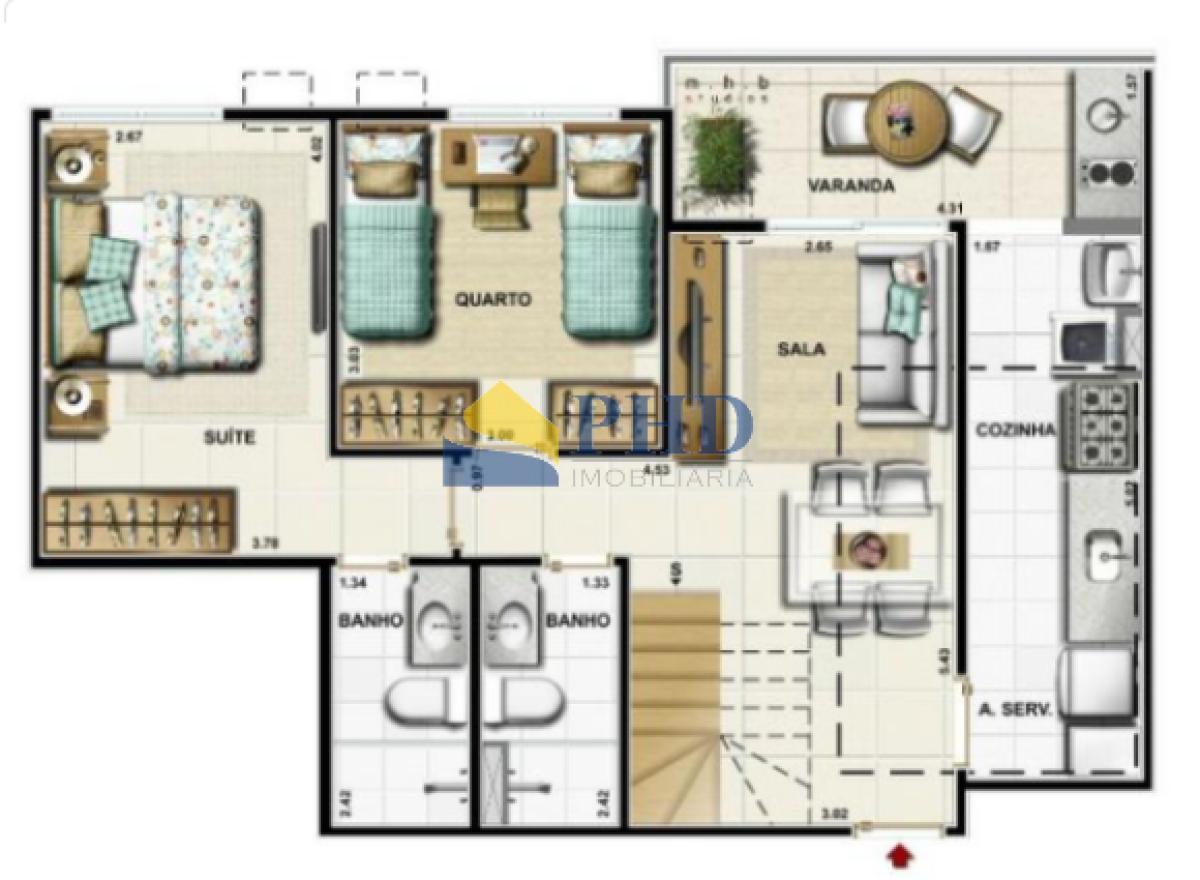 Cobertura Duplex 3 Quartos 123m²